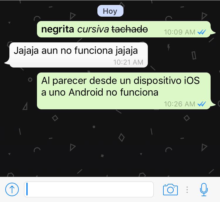 Como utilizar la negrita, cursiva y tachado de textos en WhatsApp