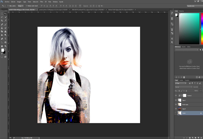 Como hacer el efecto doble exposición en photoshopp