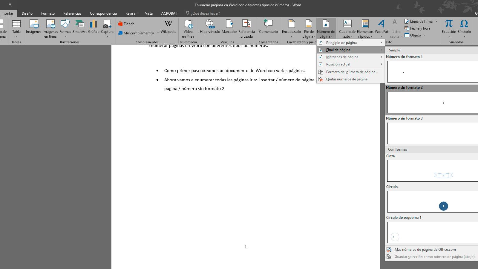 Enumerar páginas en Word 1