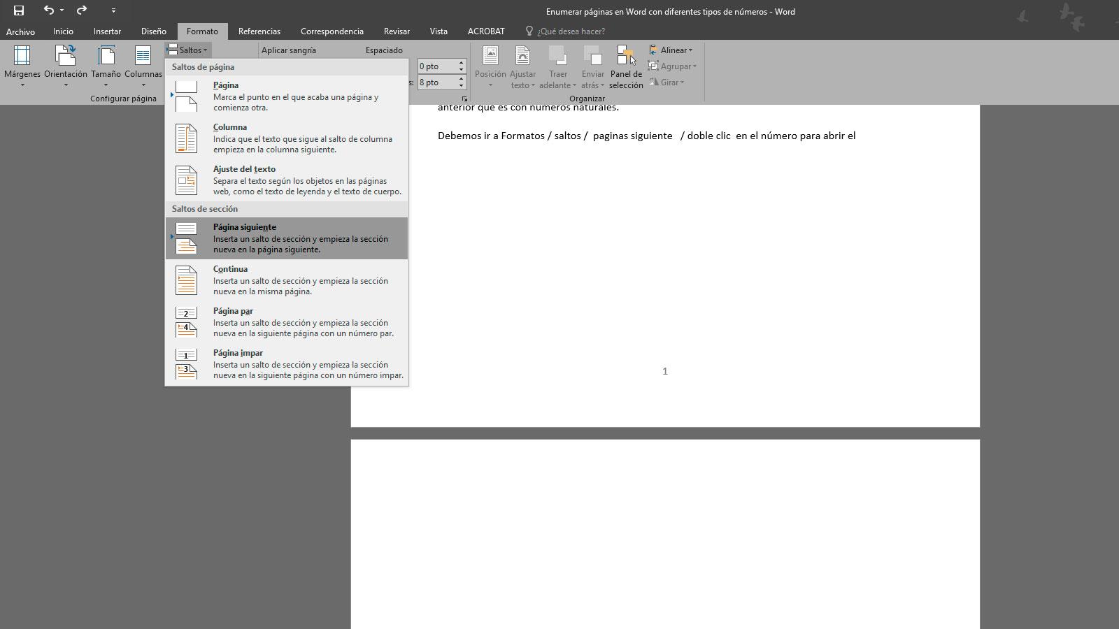 Enumerar Páginas En Word Con Diferentes Tipos De Números Escape