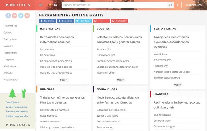 PineTools: Herramientas online por categorías