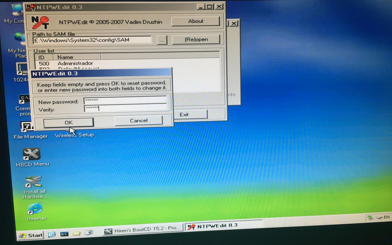 la clave de usuario de windows