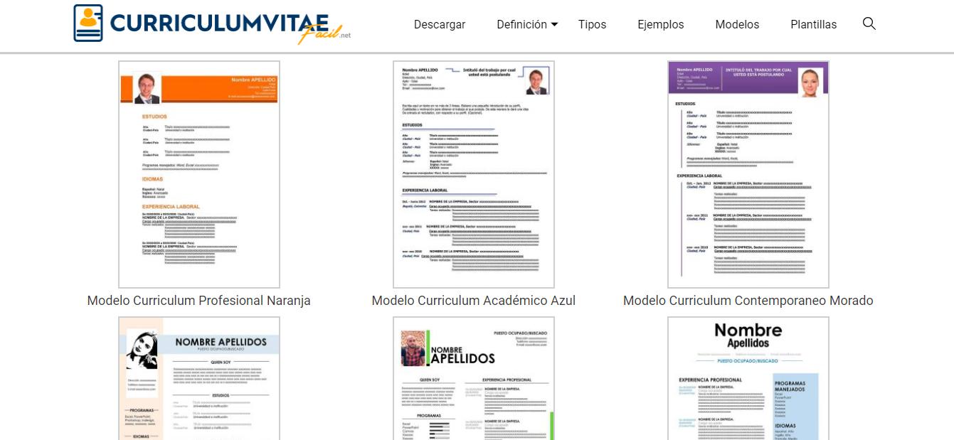 Paginas para descargar ejemplo del currículum vitae