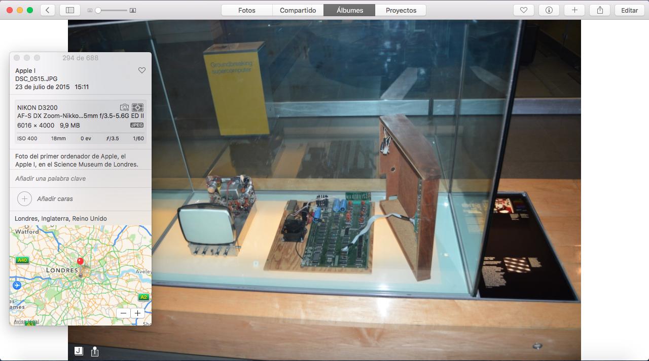 Ubicación de fotos en OS X El Capitan