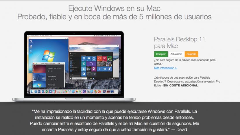 Actualización Parallels Desktop 11 para Mac